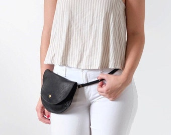 Fanny Pack, Leather, Bum Bag, Waist Bag- The Ester Fanny Pack in Black by Awl Snap