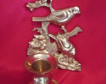 Vintage candlestick brass birds / Vintage Candlestick Brass Birds