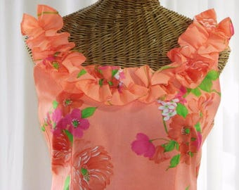 70s Mildred's Of Hawaii Long Sleeveless Dress Hibiscus Print New