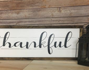 Thankful Farmhouse Sign, Hand Painted, Reclaimed Pallet wood