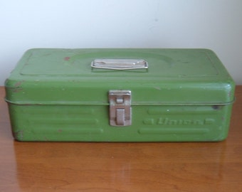 Reserved for Michelle - vintage green metal tool box