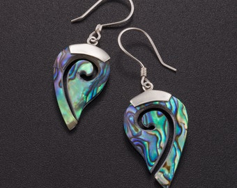 Abalone silver earrings. blue silver earrings. abalone shell. silver earrings. paua shell earrings. paua jewelry. boho chic earrings.