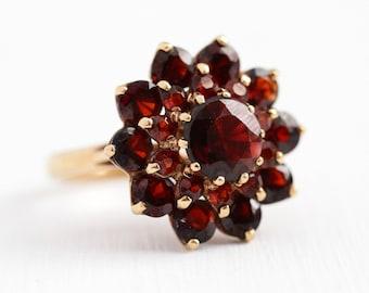 Vintage Garnet Ring - 10k Yellow Gold Genuine Dark Red Gem Flower Cluster Statement - Retro Size 6 January Birthstone Halo Big Fine Jewelry