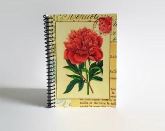 Red Carnation Notebook - Spiral Bound A6