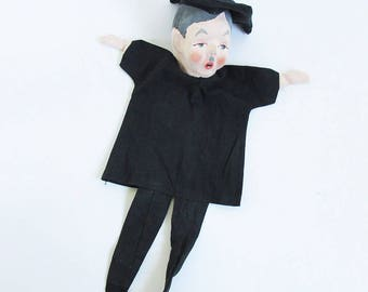 1950s Hand Puppet, Hand Made, Hand Painted - College Professor in Graduation Cap, Mustached Man