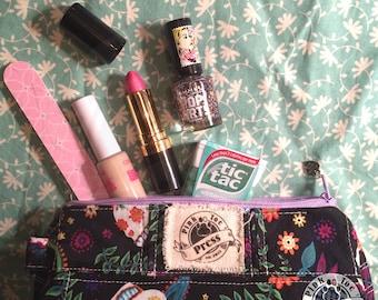 CALAVERA Makeup Bag // Pencil Pouch // Fabric Glasses Case // Sugar Skull Design
