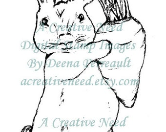 INSTANT download Digital Stamp Image BUNNY with carrot  for CARDS, Scrapbooking, Mixed Media Art, Art Journal