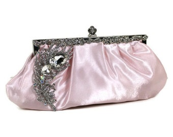 Soft Pink Bridal Clutch, Vintage Style Wedding Clutch, Satin Bridal Clutch, Wedding Purse with Crystal Peacock Brooch