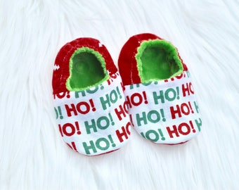 Red and green christmas Baby Infant Shoes gender neutral ho ho ho