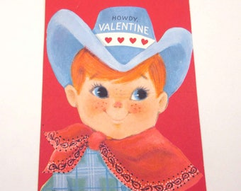 Vintage Unused Children's Novelty Valentine Greeting Card with Cowboy in Hat and Kerchief by Hallmark