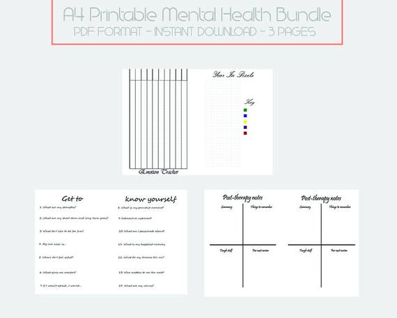 a5 mental health bullet journal printable spreads 3 pcs