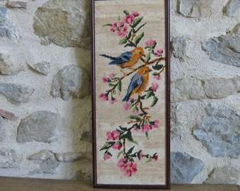 Framed bird tapestry, French hand worked tapestry birds and flowers