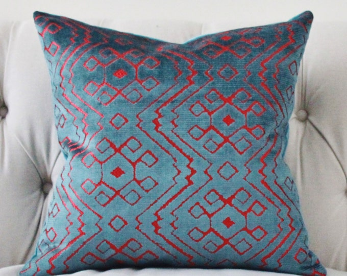 Modern Geometric Pillow Cover - Teal Blue Pink Velvet Pillow Cover - Aztec Tribal Blue Pillow - Teal Throw Pillow - Graphic Pillow - Rubelli