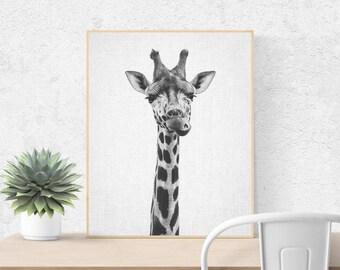 Giraffe Print, Printable Art, Nursery Print, Black and White Nursery Decor, Nursery Animal Wall Art, Kids Printable Art, Safari Animal Print