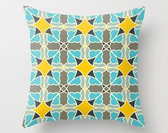 Blue yellow pillow, Flower pillow, Decorative throw pillow, Nature inspired design, Modern home decor, accent cushion