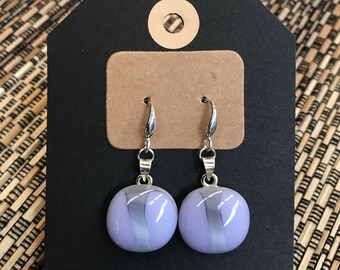 Mauve / Purple and Grey Fused Glass Earrings