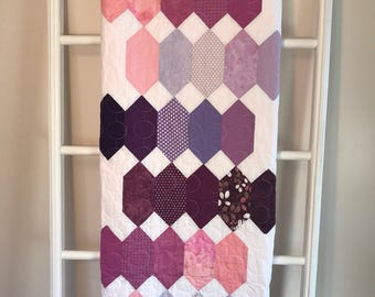 Unique One of a Kind, Handmade Quilt, White and Purple, Pink Minky Backing, Sweet Lap Quilt, White Decor, Modern Living, Living Room Decor