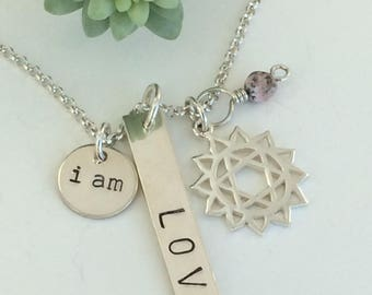 i am love/heart chakra/rhodochrosite/sterling silver hand stamped necklace/yoga jewelry
