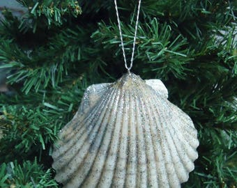 Large Glittery Shell Christmas Tree Ornament