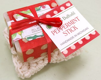 Peppermint Stick Soap and Washcloth Kit