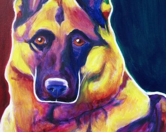 German Shepherd, Pet Portrait, DawgArt, Dog Art, Pet Portrait Artist, Colorful Pet Portrait, GSD Art, Pet Portrait Painting, Art Prints