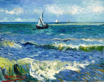 "VINCENT VAN GOGH poster reproduction of painting ""Seascape at Saintes-Maries"", 1888. print on canvas"