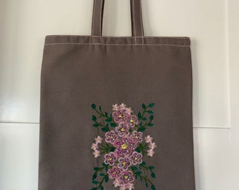 Tote Elegant Embroidery and Bead Accent Beautiful Anytime Bag, Canvas Fabrics and Silk Threads Used in the Bag. Custom Made and Details