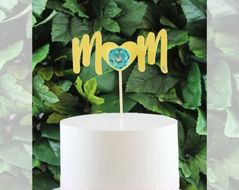MOM with Beautiful Flower Cake Topper, Centerpiece, Topper – Mother's Day,Birthday,Birth Party, Baby Shower, Party
