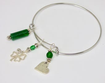 Antique Silver Adjustable Shamrock Bangle Bracelet, Lucky Bracelet, Celtic Clover Charm, Heart Jewelry, Irish Green Jewelry, St Patricks