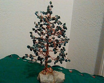 "Copper Wire Tree Sculpture With Turquoise Gemstone ""The Healing Tree"""