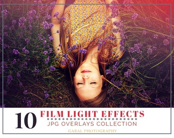 FILM LIGHT LEAKS Photoshop Overlays 10 Pack, photoshop overlay, film overlays, film effect, light effect, light overlays, color, photography