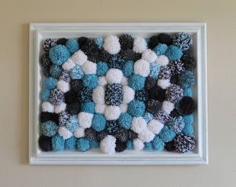 Pom Pom Wall Art Handmade, Vintage Painted Frame, Blue White Grey Yarn Balls