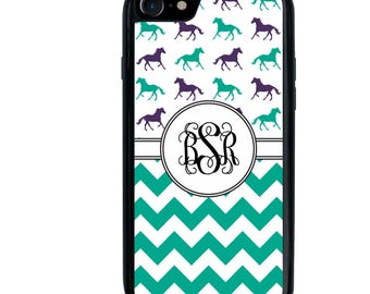 Horse Phone Case, Chevron Design, Monogram Initials, Letters, iPhone 5 5s 6 6s 6+ 6s+ SE 7 7+ iPod 5 6 Case, Plus