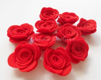 Felt Flower RED. set of 10 pieces
