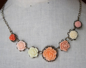 Handmade Flower Necklace Peach Rose Necklace Peach Flower Necklace Flower Bib Necklace Peach Bridesmaids Peach Wedding Jewelry