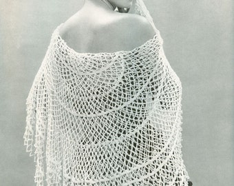 CROCHET PATTERN Vintage 1950s Circular Lacy Shawl Instant Download PDF