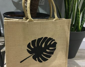 Monstera Leaf jute shopping bag for life. (Cheese plant) fabric handmade present Reusable Bag
