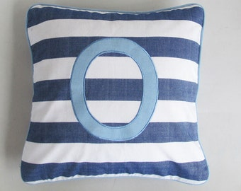 striped monogram pillow blue and white nautical striped - custom made 18 inches