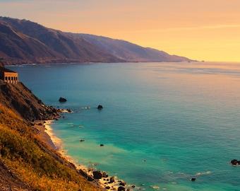 A Shoreline Sunset, Big Sur, Mountains, Bridge, Highway 101, PCH, Central Coast, California