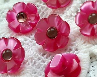 set of 6 flower shank buttons rhinestone 13 mm vintage Fuchsia pink