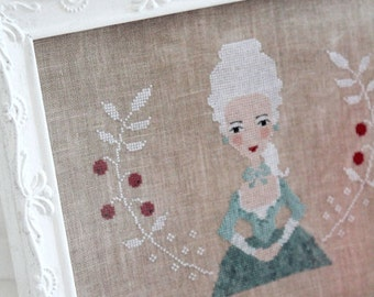ELISE - official printed paper cross stitch, The Snowflower Diaries, primitive, sampler, lady, winter, white, embroidery, broderie