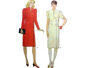 Double Breasted Dress, Women's Sewing Pattern, Misses Size 10 Uncut Vintage 1980's Fast & Easy Butterick 6007