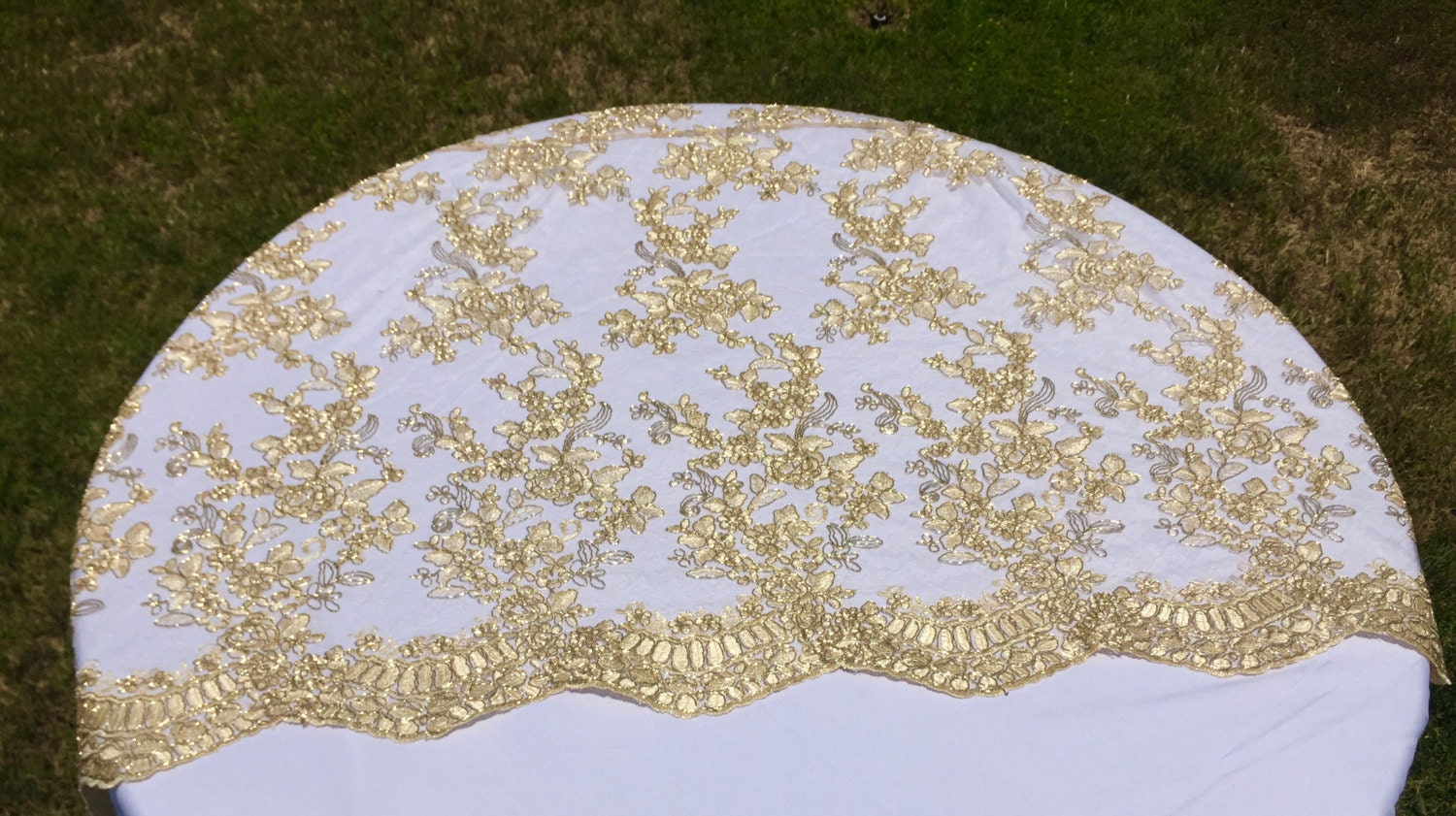 Vintage Wedding Table Cloth Gold Tablecloth Overlaylace
