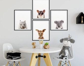 Australian Animals Print, Baby Animals Set 4, Nursery Decor, Baby Animal Prints, Koala, Kangaroo, Nursery Wall Art, Kids Room Printable Art