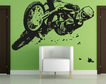 Vinyl Wall Decal Sticker Motocross Riding OSAA196B