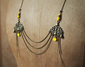 Yellow chandelier necklace