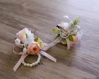 bridal hair piece, boutonniere, wrist corsage, hair accessories, rustic wedding, wedding accessories, prom corsage, wedding boutonniere