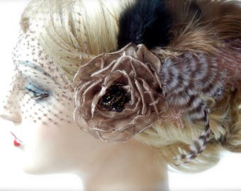 Coco Rose Veiled Feather Headpiece