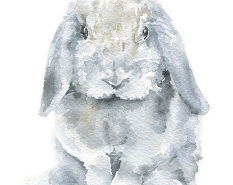 Watercolor Painting Bunny - Mini Lop Rabbit - 8 x 10 - Gray Nursery Art - 8.5 x 11 - Giclee Print