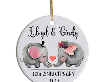 Personalized Anniversary Ornament, Anniversary Christmas Ornament, 30th Anniversary Gift, Christmas Anniversary Gift, Couples Ornament